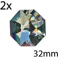 Swarovski strass Koppen Ø 32mm con 2fori 2pezzi Oktagon arcobaleno cristallo–Feng Shui–esoterica–finestra gioielli ottagonali–Reich–Strass Sfaccettato–Cristalli appesi–lampadario in cristallo Decorazioni in paillettes–Polygon–Koppen