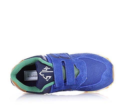 NEW BALANCE - Scarpa ginnica 574 blu e verde, in camoscio e tessuto, con chiusura a strappo, logo laterale e posteriore, Ragazzo, Bambino Blu