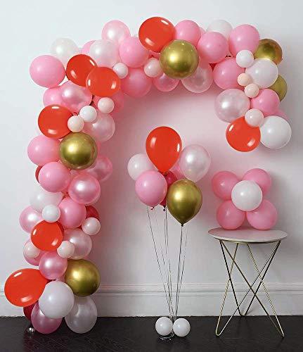 SPECOOL Decoración de cumpleaños en Globos de Oro Rosa, 115 Piezas Rosa Pálido Roja Blancos de Oro de Globos,Globo de Fiesta Decoraciones para Boda, Cumpleaños, Baby Shower,de Ceremonia