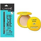 Lakmé Eyeconic Kajal, Deep Black, 0.35g & Lakmé Sun Expert Ultra Matte SPF 40 PA+++ Compact, 7g