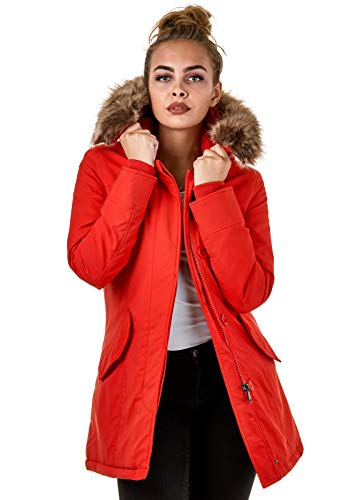 EightyFive Damen Jacke Parka Mantel Winterjacke Kunstfell Kapuze Warm Gefüttert Schwarz Khaki Rot Pink Creme EF1828-05, Größe:M, Farbe:Rot
