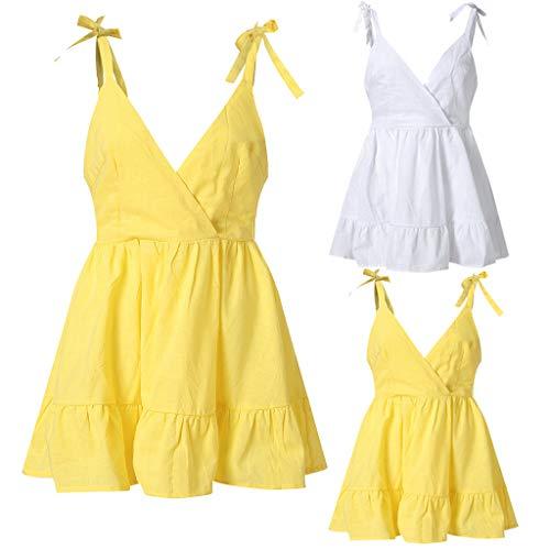 ESAILQ Frau Kleider RüCkenfrei Schulterfrei äRmelloses Kleid Princess Dress(X-Large,Gelb)