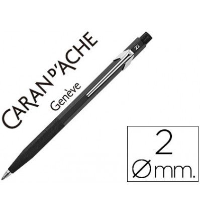 portaminas caran d-ache fixpencil negro con clip 2 mm con afilador en el pulsador y sujeccion de caucho