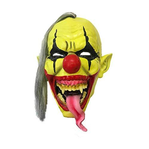 ZX Maske Halloween Green Latex Maske Horror Scary Green Gesicht Lange Zunge Clown Cover,Gelb,MJ
