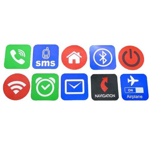 Lotto di 10 adesivo per smartphone NFC, come Samsung Galaxy S4, Samsung Galaxy S3, LG Nexus 4, Google Nexus 7, Galaxy Note 2, HTC One X, Galaxy Nexus, Nexus S, Galaxy Ace 2, Blackberry