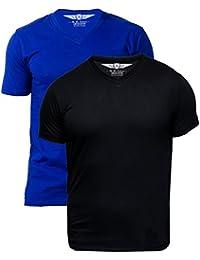 Scott Mens Pack Of 2 Biowash V-Neck T-shirt (Royal Blue & Black)