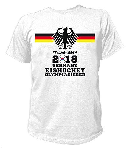 Artdiktat Herren T-Shirt - Deutschland Trikot Eishockey Olympiasieger Wunschname und -Nummer am Rücken - Pyeongchang Finale Sieger Größe XXL, Weiß