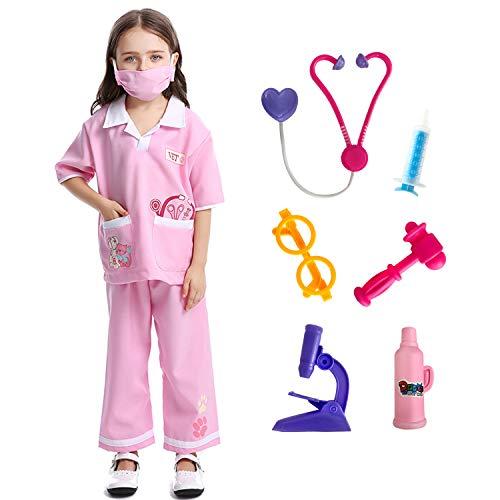 Mädchen Kostüm Tierarzt - LOLANTA Kind Mädchen Doktor Dress-up Tierarzt Rollenspiele Halloween Kostüme befestigen medizinisches Spielzeug