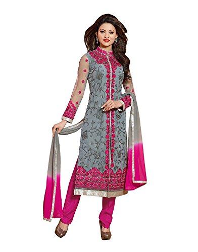 BMR Women's Grey Color Net Semi Stitched Salwar Suit Sets ( Free_Size)
