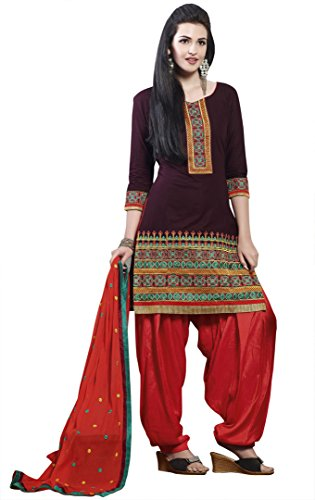 Kvsfab Women's Cotton Lace Patialas (Kvs 2266 Jodha _Brown _Free Size)