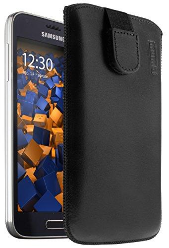 mumbi ECHT Ledertasche für Samsung Galaxy S5 Mini Tasche Leder Etui (Lasche mit Rückzugfunktion Ausziehhilfe)