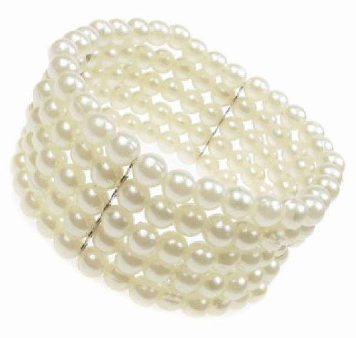 5-row-stretch-pearl-bead-corsage-cuff-bracelet-new