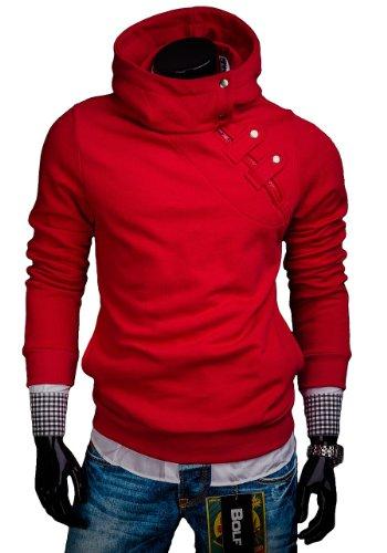 BOLF Herren Sweatshirt mit Kapuze Reißverschluss Pullover Basic sportlicher Stil Mix 1A1 Rot