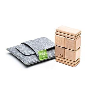 8 Piece Tegu Pocket Pouch Magnetic Wooden Block Set, Natural