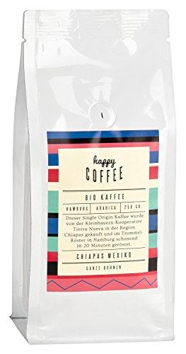 HAPPY COFFEE Bio Kaffeebohnen 250g | Fairtrade Arabica Kaffee-Bohnen direkt aus Mexiko | Schonend geröstet in Hamburg | Perfekt für Kaffeeautomat und French Press