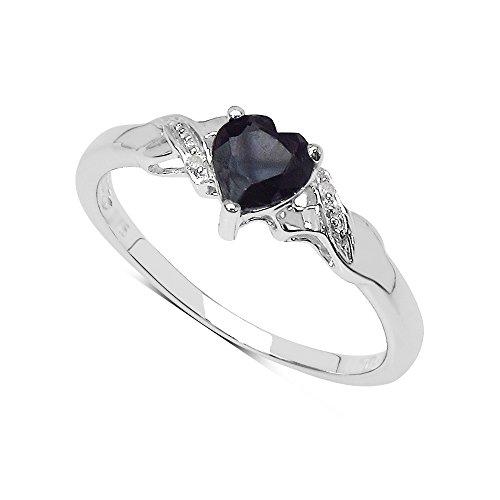 Saphir-Ring-Sammlung: Schönes Sterlingsilber-Herz geformtes schwarzes Saphir-Verlobungsring u. Diamant-gesetzte Schultern, Muttertagsgeschenk, Ringgröße 57 (18.1) (Diamant-verlobungsringe, Schwarz)