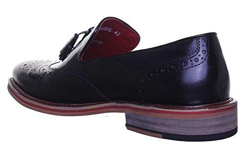 Reece Justin-dérapant Rouge à pompons Design Loafer garniture aspect cuir-Taille 18–19 Black FV1