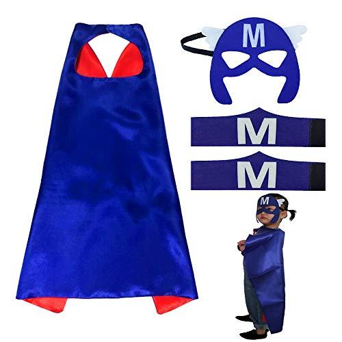JUN-H Superhelden Kostüme für Kinder, Superhero Armband Capes Superhelden Umhang Maske Filz Masken für Party, Geburtstag, Halloween, Karneval, Fasching, Blau- M