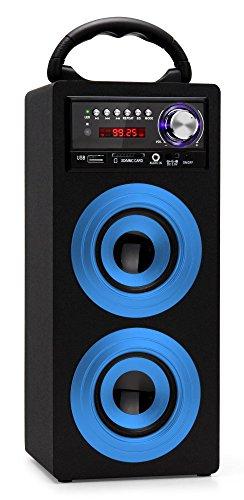 Beatfoxx Beachside BS-20BTB portabler Bluetooth-Lautsprecher tragbare Akku-Lautsprecherbox (USB/SD-Anschlüsse, UKW-Radio, AUX, Tragegriff, Fernbedienung) blau (Boombox Mit Akku)