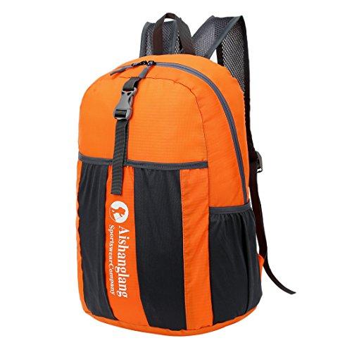 freelink Reise Folding Bag Casual Fashion tragbar outdoor ghoulder Tasche Nylon Wasserdicht Sporttasche Lagerung, Outdoor Tasche Licht Rucksack kann gefaltet werden orange