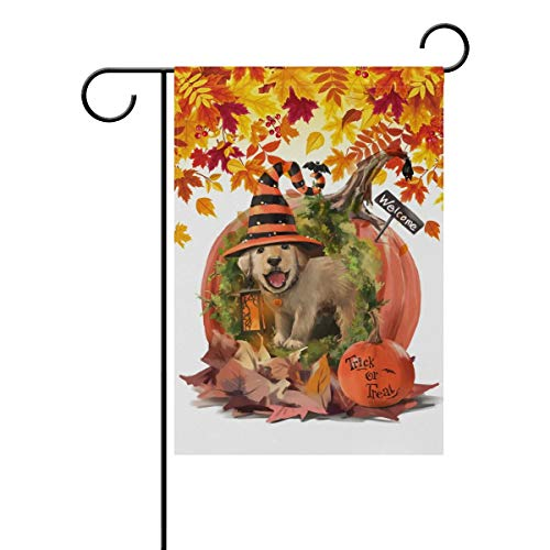 (CHKWYN Trick or Treat Halloween Holiday Polyester Garden Flag, Cute Dog in The Pumpkin House with Autumn Leaves Decorative Yard Flag for Party Home Outdoor Decor Size: 12.5-inches W X 18-inches H)