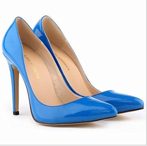 XINJING-S Bowknot High Heels Schuhe Party Hochzeit Frauen Pumps Heels OL Kleidung Schuhe Sandalen Blau