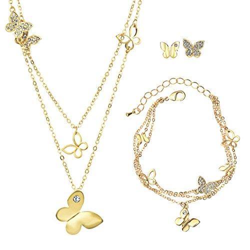 NEOGLORY Schmuck-sets (Kette Ohrstecker Armband)14Karat Gelbgold Vergoldet Schmetterling Elements Strass Zirkonia Damen Gold Gelb (Schmetterlings-armband)