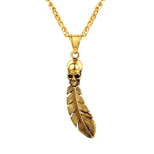 PROSTEEL Herren Punk Stil Halskette 18k vergoldet Feder Totenkopf Schädel Anhänger mit Kette Hip Hop Schmuck für Herren Jungen, gold (Herren Schmuck Ketten Gold 18)