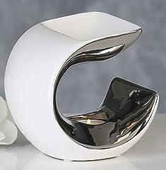 Idea Regalo - Moderno Diffusore per essenze, Lampada con aroma, Curve in ceramica bianca/Argento 14x14x10 cm