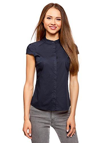 Oodji ultra donna camicia in cotone con maniche corte, blu, it 42 / eu 38 / s