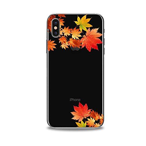 Coque iPhone X 2017 Housse étui-Case Transparent Liquid Crystal en TPU Silicone Clair,Protection Ultra Mince Premium,Coque Prime pour iPhone X 2017-La feuille Maple-style 9 12