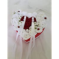 Caja de de Corazón de Anillos de Novios Sostenedor de Anillo de Ceremonia de Boda Caja