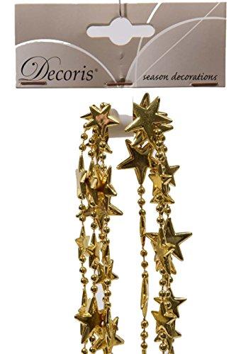 Perlenkette mit Sternen aus Kunststoff (Länge: 270 cm) gold (Kunststoff-perlenketten)