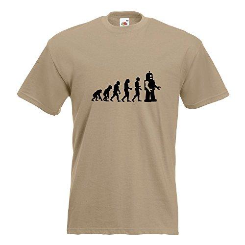 KIWISTAR - Evolution Roboter T-Shirt in 15 verschiedenen Farben - Herren Funshirt bedruckt Design Sprüche Spruch Motive Oberteil Baumwolle Print Größe S M L XL XXL Khaki