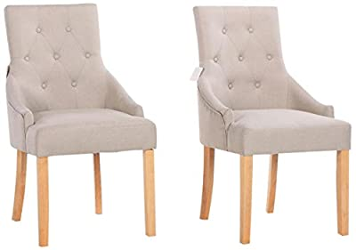 Yakoe Set of 2 New Linen Fabric Dining Chairs Scoop Button Back with Solid Wood Legs living Room Dining Room Office, Fabric, Beige - inexpensive UK light shop.