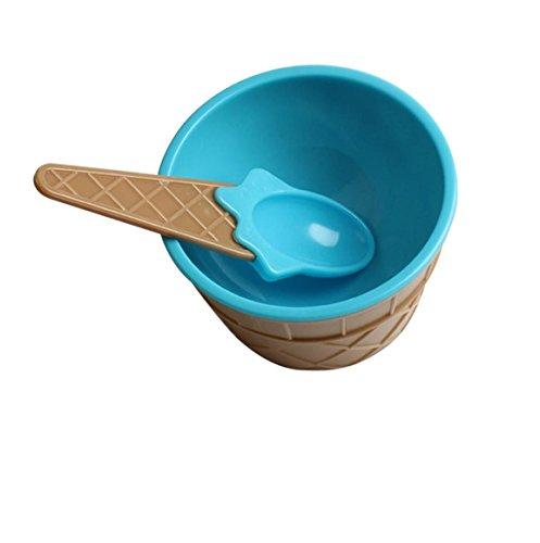 Bellelove 1 x bol de crème glacée avec une cuillère cuillères de bols en plastique conçu pour la cuisson