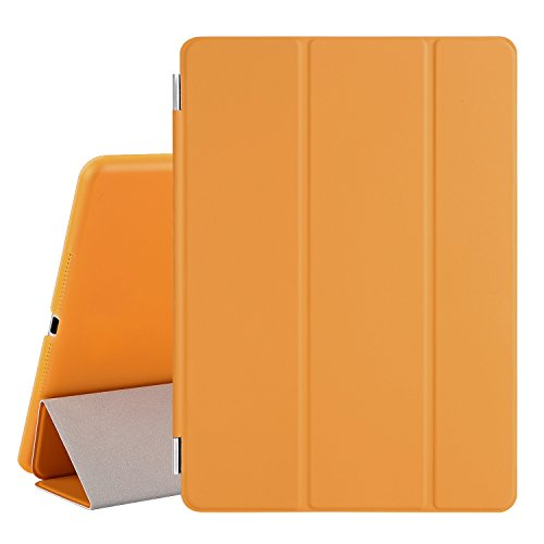 Besdata® Ultra Dünn Edles Smart Cover Leder Case Schutz Hülle Tasche + Back Case für ipad air 2 - inkl. Displayschutzfolie Reinigungstuch Stift mit Multi Ständer Auto Sleep Wake (ipad air 2, Orange) - PT9807
