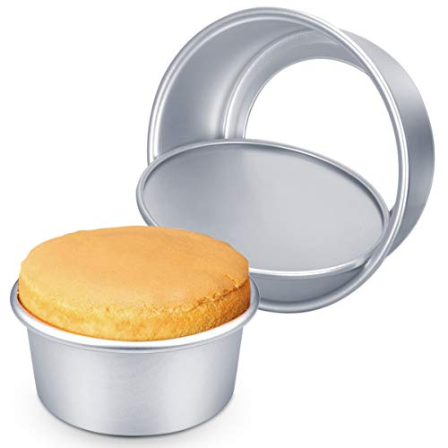 2 Pack 6 Inch Cake Tins 8 Inch Baking Tins, Homealexa Round Baking Tins for Cakes Cheesecake tin, Nonstick and Leakproof Cake Pan Tin/Cheesecake Tin Christmas Cake Tins Set with Removable Bottom