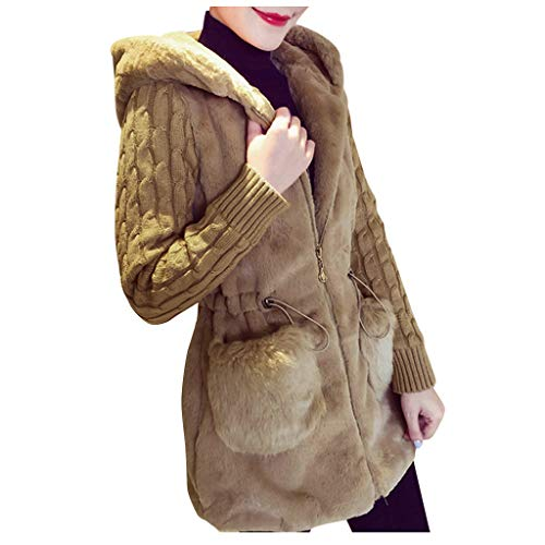 Damen Mantel Elegant Winter Winter Strickjacke Strick Plüsch Hoodies Jacke Warme Oberbekleidung Mantel