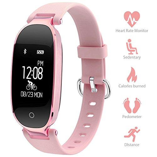 Montre Connectée Sport Fitness Tracker d'Activité Montre Étanche IP67 Bracelet Intelligent Podomètre Calories Sommeil-Bluetooth 4.0 Smart Traqueur d'Activité pour Femme Homme Sport/Android et iOS Portable - Vendu Par Udenx (Rose)