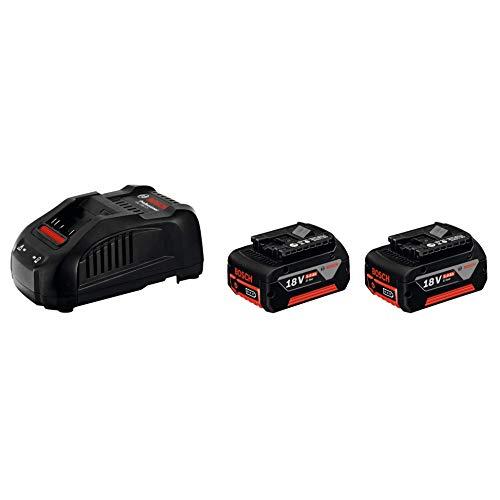 Bosch Professional 18V System Akku Starter Set (2x 5.0Ah Akku, Schnellladegerät, im Karton)
