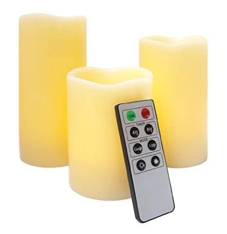 Mooncandles - 3 Real Wax Flameless Candles with Timer and Remote Control