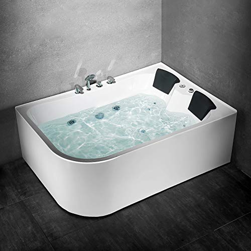 Whirlpool Badewanne 2 Personen Relax Hydromassage Wanne Massage Eckbadewanne Spa mit Reinigungsfunktion und komplettem Zubehör 170x120x58cm (links, ohne Heizung)