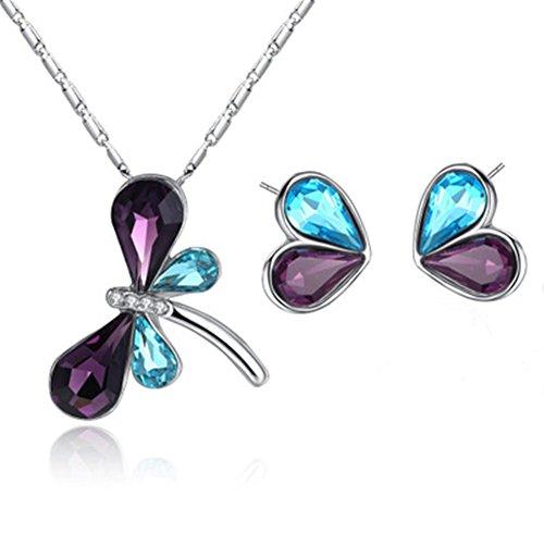 Emorias 1 Set Juegos de Joyas Libélula Diamante Elegante Collar Pendientes Mujeres Joyería Accesorios de Boda