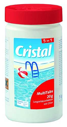 Cristal MultiTabs 20g 5 in 1 | 1 kg Dose | 5 in 1 Chlor-Komplettpflege mit Langzeitdesinfektion, Algenvernichtung, Trübungsentfernung, Chlorstabilisierung, Härtestabilisator (Senker 1)