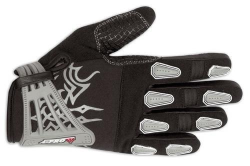 A-Pro Leder Textil Handschuhe Motorrad Enduro Kalbsleder Velcro Grau M