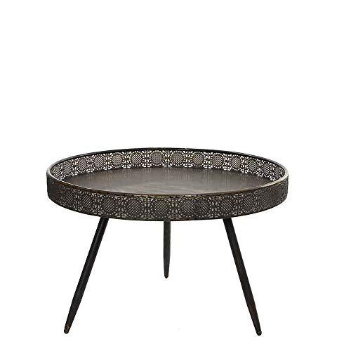 MICA Decorations Couchtisch Tablettisch Rund Metall - 45,5 cm x Ø 70 cm – Beistelltisch Vintage – Tisch Orientalisch - Teetisch (Bronze)
