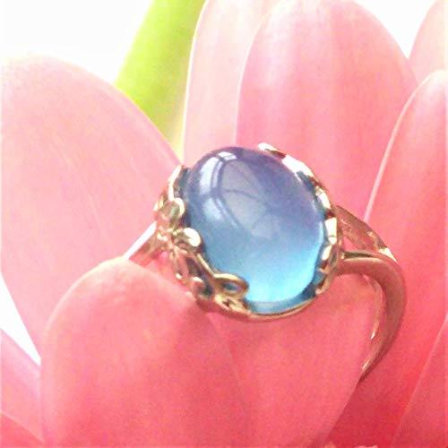 Anello in argento sterling calcedonio blu, regolabile, rifinito a mano
