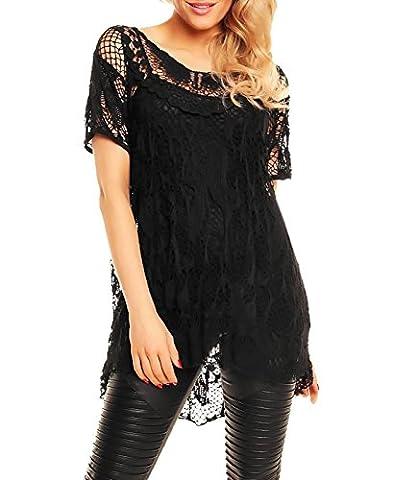 Womens Italian Lagenlook Butterfly Crochet Lace Scoop Neck Short Sleeve High Low Layered Vest Tunic Top BLACK/Plus Size (UK