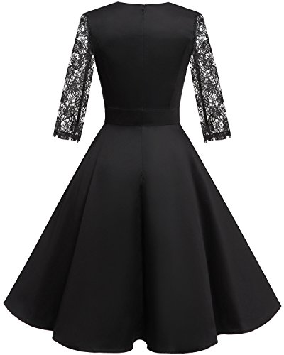 HomRain Damen 50er Vintage Retro Kleid Party Langarm Rockabilly Cocktail Abendkleider Black-1 XS - 2